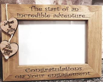 personalised engagement gift engagement party gift wood frame gift for couple personalised - Engagement Picture Frames