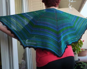 Light blue-green shawl with black border