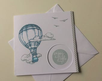 Handmade greeting card hot air balloon