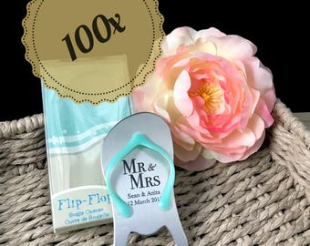 "100x Personalised Engraved ""Pop the Top"" Flip Flop Bottle Opener - Wedding Favours"