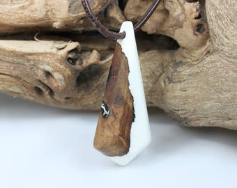 Resin necklace necklace for him and her with exotic wood ZeitlosSchmuckDesign wood. Resin wood father's day nature