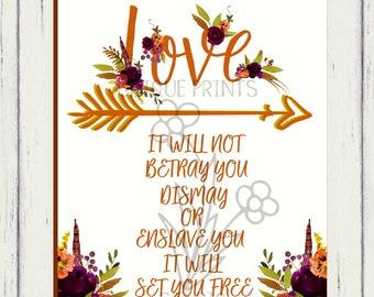 Mumford and Sons Sigh no more fall floral lyric print//Printable lyric art//Music lover gift//Fall Wedding