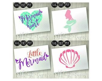 Mermaid svg bundle, mermaid at heart, little mermaid, mermaid shell, svg, silhouette cut file, cricut cut file, Pdf, SVG, DXF, Studio3, file