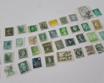 Mixed Lot Of 40 World Vintage Used Green Stamps Ephemera For Scrapbooking, Collage, Art Journaling, Crafting, Decoupage