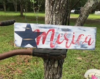 Merica rustic wood sign