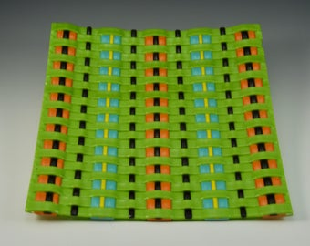 Woven Fused Glass Asian Style Plate (Glass Weave)