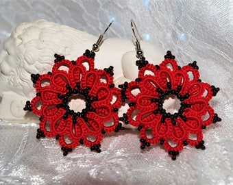Red lace tatting earrings with black beads