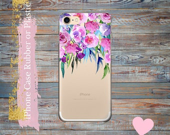 iPhone 7 case Floral Peonies iPhone  7 Plus clear case, iPhone 6 / 6 Plus Case, iPhone 5s / 5 / SE Case,  iPhone case Plastic /rubber.