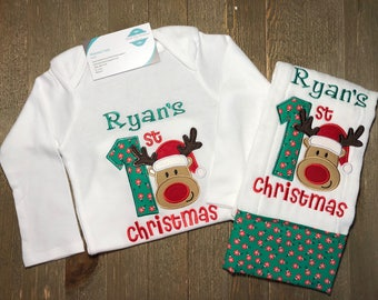 1st Christmas Reindeer Personalized Onesie, Burp Cloth and Bib set, Embroidered, Custom, Christmas, First Chirstmas