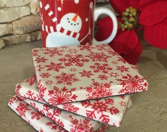 Christmas Coasters, Holiday Coasters, Red and White, Snowflake, Christmas Decor, Holiday Decor, Christmas Gift, Hostess Gift