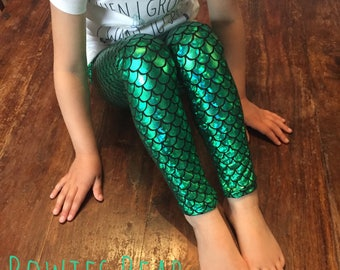 Girls Foil Print Mermaid Leggings - Holographic Green Flake - Scale Print Leggings - Sizes Prem - 14 Years - Ariel Dress Up - Under The Sea