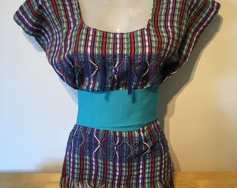 Mexican multi-coloured hand made cotton blouse