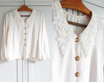 Ecru Nude 1980s Shirt Blouse Vintage Ethereal Floral Elegant Retro Women Top Collar Flowers Loose Smart Look / Large size