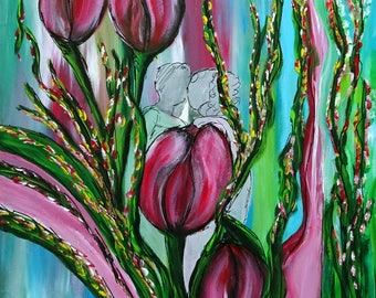 Behind the tulips. Love is everywhere-acrylic on canvas – 40x40cm