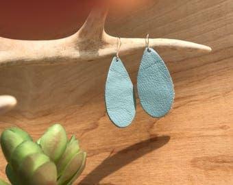 Sky blue Leather Teardrop Earrings