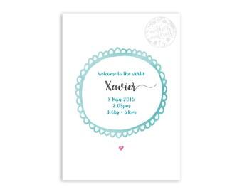 "Birth Announcement Customised Print ~ ""Xavier"""