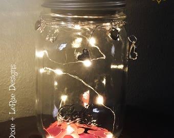 Mason Heart Fairy Light Jar with Firefly Lights, Outdoor Lightning, rustic, Fairy Lights, Mason Jar Lights, Valentine's Day Jar