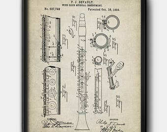 Clarinet · Patent · Instant Download · 1894 · Music · Printable #151