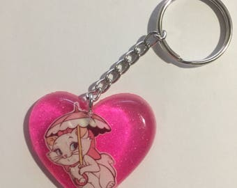 Pink Aristocats marie with umbrella resin heart keychain