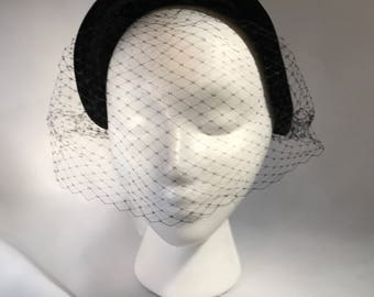 Vintage Black velvet hat with veil. 1940's,perfect condition.