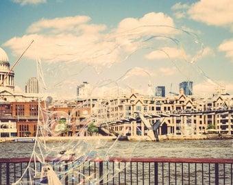 London moments, retro colours, bubble view, Digital, Printable Fine Art Photography