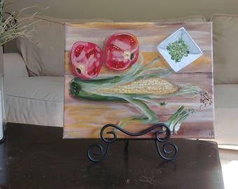 "Original Acrylic Painting, Food Art, Chef Gift, 11x14, Kitchen art,Vegetable Art by NJ artist Linda Robinson ""On The Chopping Block"""