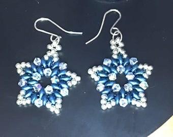 Swarovski Beaded Earrings, Star Earrings, Blue and Silver Earrings, Swarovski Earrings
