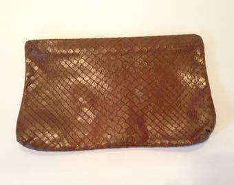 Brown Snakeskin Clutch