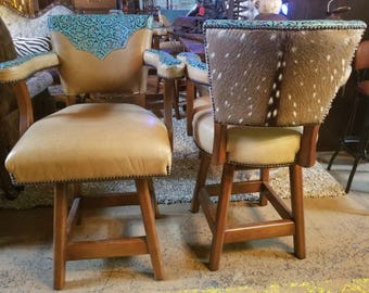 Vintage 4 Turquoise Croco Bar Stools from The Saddle Ranch Co.