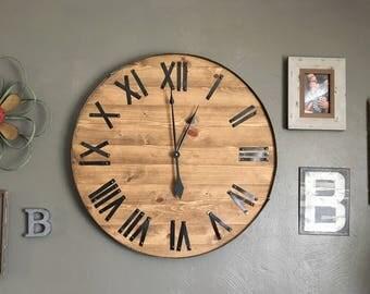 "30"" Farmhouse Decor, Wood Wall Sign, Anniversary Gift, Customized, Oversized Wall Clock, Farmhouse Clock, Wall Clock, Rustic Clock, Rustic"