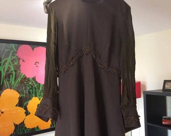 Vintage 1960s Mod Brown Dress Size 12
