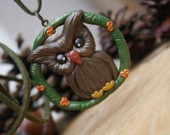 Owl animal necklace, polymer clay jewelry