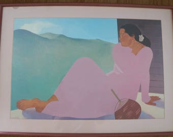 "Pegge Hopper Framed Hawaiian Large Art Print Tropical Wall Art: ""Kahala Afternoon""."