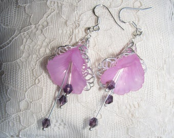 Flower earrings purple, new design