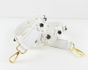 leather Stud Bag Strap purse handles leather white black flower Strap Removable Strap for Bag and Purses Interchangeable Strap