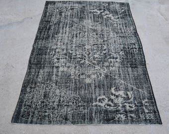 Ovedyed Black Distressed Bohemian Rug 6.4 x 9.7 Ft