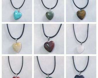 Chakra Healing Stone Necklaces on Black Waxed Cord