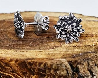 "Large ""Yam Daisy"" sterling silver stud earrings"