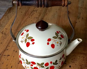 Cream Tea Kettle with Strawberry Design | Strawberries 'n Cream Sheffield Tea Kettle
