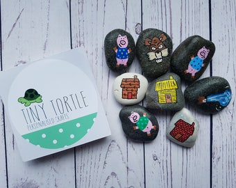 Three little pigs story stones, story telling set, birthday gift, unique gift, children's gift, handpainted gift