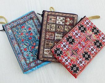 3 fabric pouch,cute pouch, cool pouch, cotton pouch, moroccan pouch,vegan pouch, zipper pouch women, coin purse, coin pouch, change pouch,