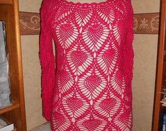 Blouse sleeves long fuschia pineapple motif