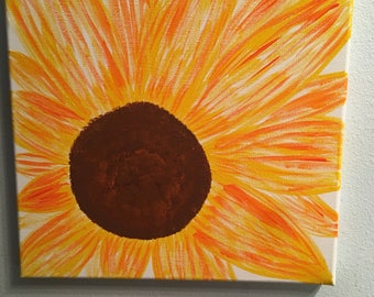 Small square painting of sunflower