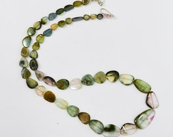 Natural Multi Tourmaline Slices Necklace / 5.0-12.0mm / Tourmaline Slices beads / 18 inch
