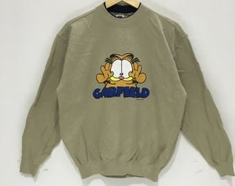 Vintage GARFIELD CAT COMIC Cartoon Manga Big Logo Pet Animal Sweatshirt Jumper