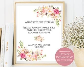 Wedding Template, Please sign our family, Instant Download Editable PDF 4x6,5x7, 8x10, Wedding sign, floral wedding sign,