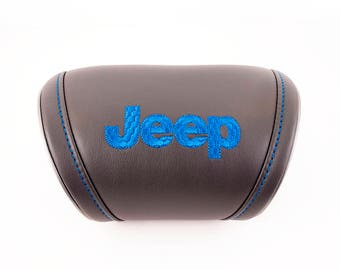 Jeep accessories - Universal Headrest Leather Auto Car Neck Rest Cushion Pillow. Car interior accessories for Jeep with embroidered logo.