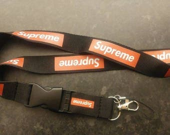 SUPREME Lanyard Black With Red Block Print High Quality