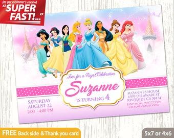 PRINCESS INVITATION, Disney Princess Birthday Invitation, Princess Digital Card, Princess Party Invite, Princess Thank You Card, v1g