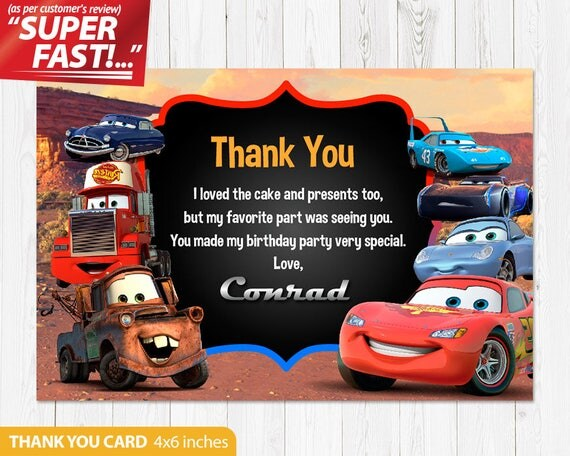 Cars Thank You Card PRINTABLE Cars Birthday Card Cars – Lightning Mcqueen Birthday Card